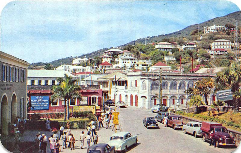 Charlotte Amalie St Thomas U. S. Virgin Islands Street View Old Cars Postcard