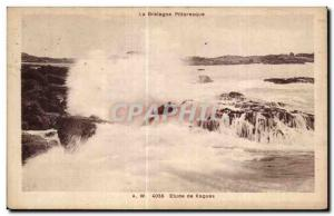 Old Postcard Brittany Picturesque Study waves