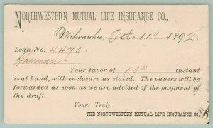 Milwaukee Wisconsin~N.W. Mutual Life Insurance Co~Hamman~Loan Approval~Oct 1192