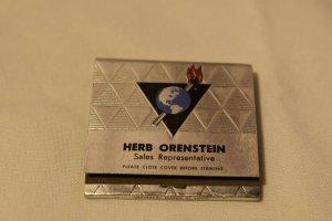 Herb Orenstein Sales Representative Universal Match Corp. 30 Strike Matchbook