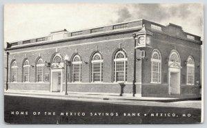 Mexico Missouri~Mexico Savings Bank~Old Ringo Hotel Corner~1935 B&W Postcard