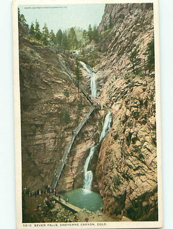 Cheyenne CO Seven Falls Stairs Catwalk For People Viewers Postcard # 5552