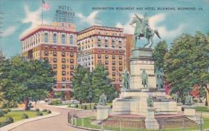 Virginia Richmond Washington Monument and Hotel Richmond 1951