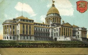 Jackson, Mississippi, State Capitol, Coat of Arms (1910s) Gold Embossed