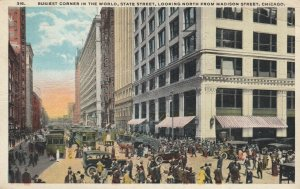 CHICAGO, Illinois, 1921; State & Madison Streets, Busiest Corner in the World