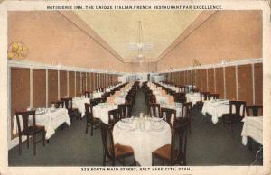 Salt Lake City Utah Rotisserie Inn Restaurant Antique Postcard K70770