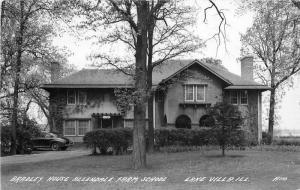 Allendale Farm School Auto Bradley Lake Villa Illinois 1940s RPPC Postcard 1975