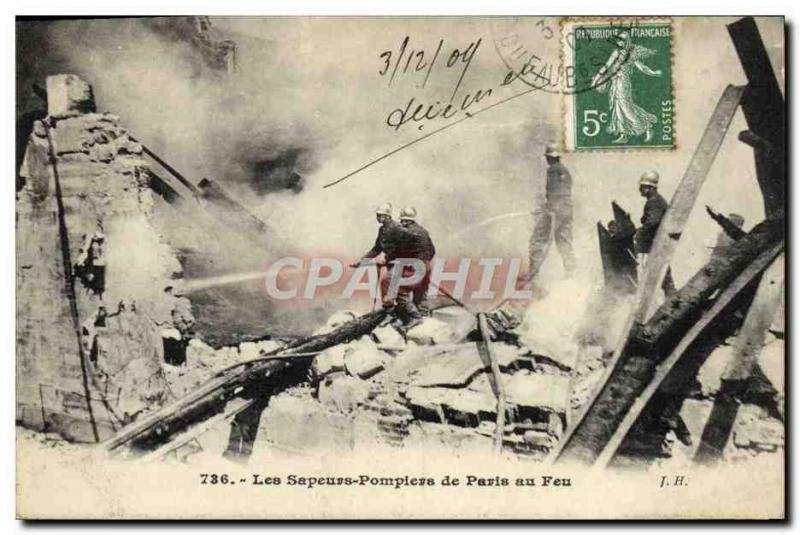 VINTAGE POSTCARD Sappers Firemen of Paris to fire