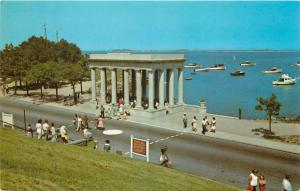 Plymouth Rock Portico Massachusetts MA Plymouth Bay boats Postcard