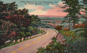 Chattanooga, TN, Highway 58 Up Lookout Mt. to Rock City, 1951 Postcard g9042