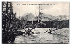 Early 1900s Flat Top and Mt. Hallett from Bierstadt Lake, Estes Park CO Postcard