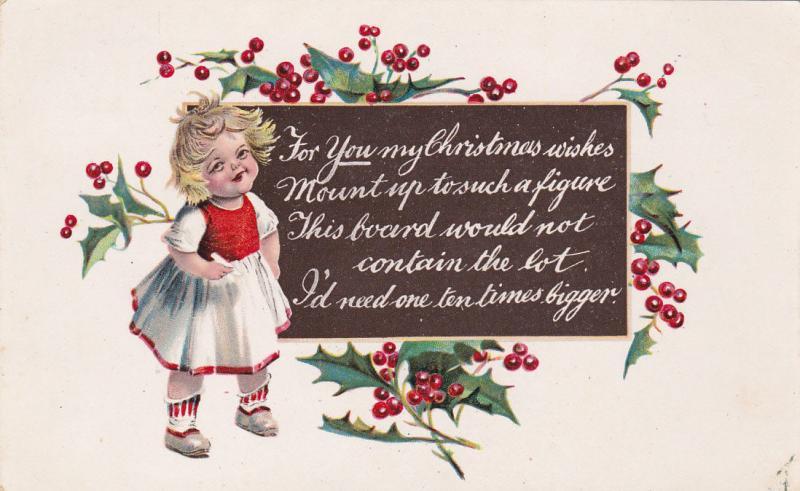 CHRISTMAS ; Poem, Girl & Holly, 00-10s