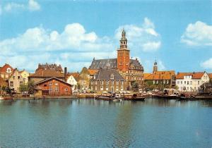 Leer Ostfriesland Harbour Hafen mit Rathaus Town Hall Harbour Panorama