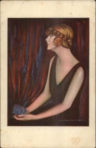 Beautiful Woman Holding Blue Flowers - NANNI c1915 Art Deco Postcard