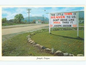 Pre-1980 HEAVEN AND HELL SIGN Joseph - Near Enterprise & La Grande OR E7069