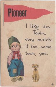 Ohio Postcard 1912 PIONEER Pennant Dutch Child Dog