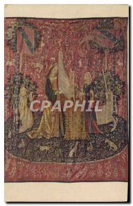 Postcard Old tapestry called the Lady and the Unicorn Cluny Museum in Paris