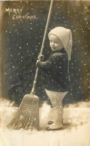 1912 Merry Christmas Child Broom Photo Studio Snow Effect Marietta Ohio RPPC