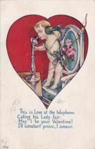 Valentine's Day Cupid On Telephone 1907