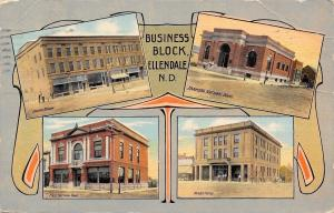 Ellendale North Dakota~Opera Block~Banks~Dickey Hotel~1912 Art Nouveau Postcard