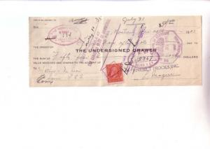 Cheque with Stamp Undersigned Finebilt Frocks Montreal, Canada