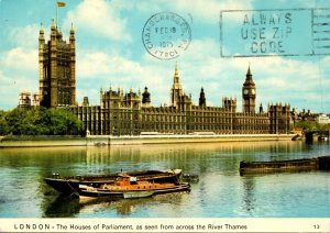 England London Houses Of Parliament Seen From The River Thames 1975