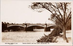 Melbourne Australia Princes Bridge & Yarra Rose Series Real Photo Postcard E62