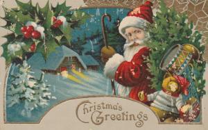 Santa Claus with Christmas Greetings - DB