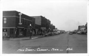 Cloquet Minnesota~Main Street~Raiter Pharmacy~Montgomery Ward Office~1947 RPPC