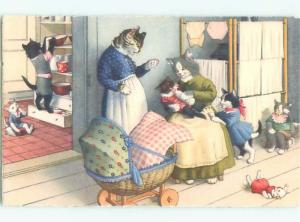 Pre-1980 Mainzer Cats - Printed In Switzerland WITH BABY CARRIAGE AC6715