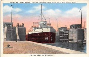 2177  MI  Sault St.Marie   Freighter Down Bound,  passing through Sabin Lock