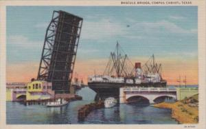 Texas Corpus Christi Cargo Ship Going Under Bascule Bridge Curteich