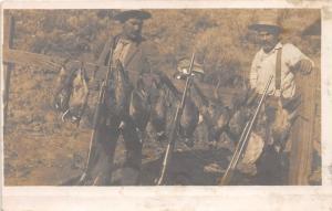 E47/ Pheasant Hunting Gun Bird North Dakota? Real Photo RPPC Postcard Men c1910