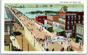 Fort Smith, Arkansas Postcard Free Bridge ALBERT PIKE HIGHWAY Sign 1948 Cancel