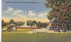 Artillery Guns Civil War Battlefield Gettysburg Pennsylvania linen postcard