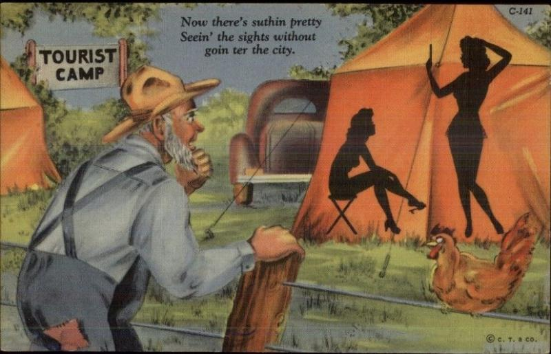 Nude Silhouette Sexy Women in Tent - Old Man Peeping Tom Linen Comic PC