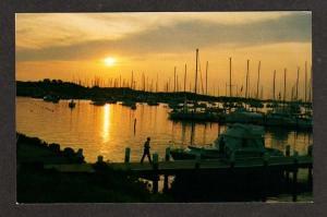 RI Sunset view New Harbor Block Island Rhode Island Postcard B I Boat Basin PC