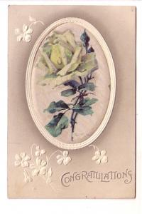 Silk Cloth Oval with White Rose, Congratulations, Printed in Germany