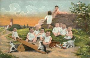 Multiple Baby Babies Fertility Fantasy See-Saw c1905 Postcard