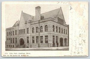 Cadillac Michigan~City Hall~Men on Corner~Arched Entryway~1906 B&W Postcard
