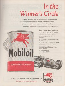 Mobil Oil 1850 Print Ad for Indy 500 In the Winner's Circle Oil Can & Race Car