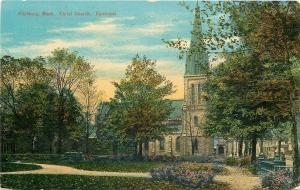 Fitchburg MA Path by Early Autumn Trees~Christ Church (Episcopal) c1910 Postcard