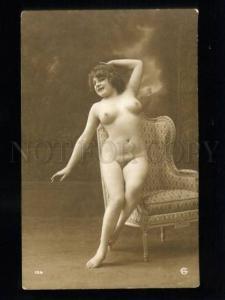 135526 NUDE Plump Woman CHAIR Vintage Real PHOTO GA #104 PC