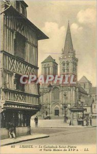 107 Old Postcard Lisieux stone cathedral saint and old house of the sixteenth s