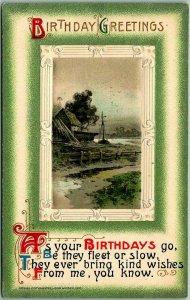 Vintage 1910s BIRTHDAY GREETINGS Embossed Postcard Fishing Village Scene WINSCH