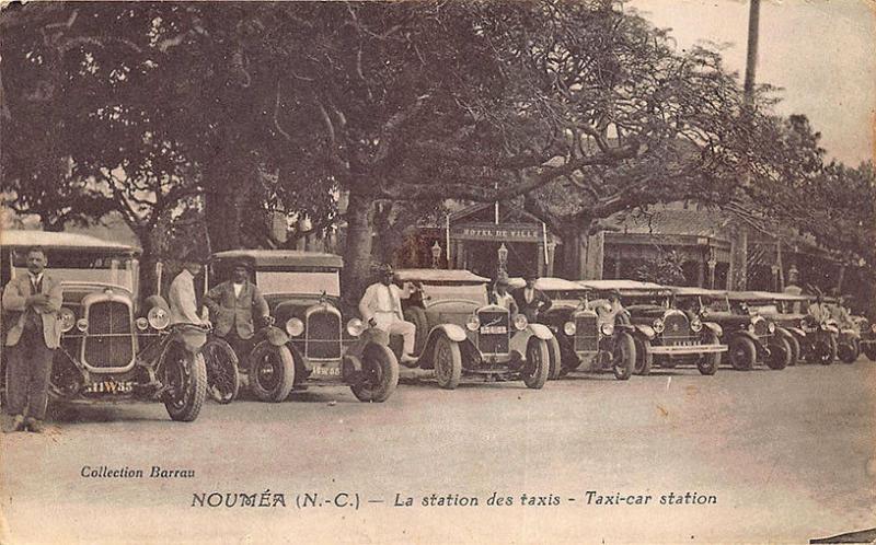 New Caledonia Noumea La station des taxis Taxi-Car Station Postcard
