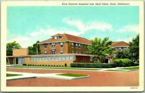 Enid, Oklahoma Postcard ENID GENERAL HOSPITAL and Enid Clinic Street View 1961