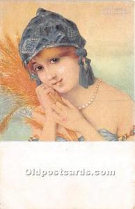 Artist Raphael Kirchner Old Vintage Postcard Marque L-E La Glaneuse # 9 Unused