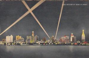 Skyline At Night Miami Florida 1947