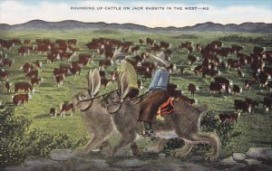 Exaggeration Cowboys Riding Large Jack Rabbits Rounding Up Cattle In The West